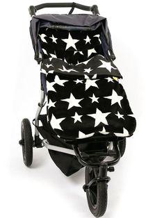 Fur Stars Black/White Buggysnuggle Footmuff - The Buggysnuggle Company