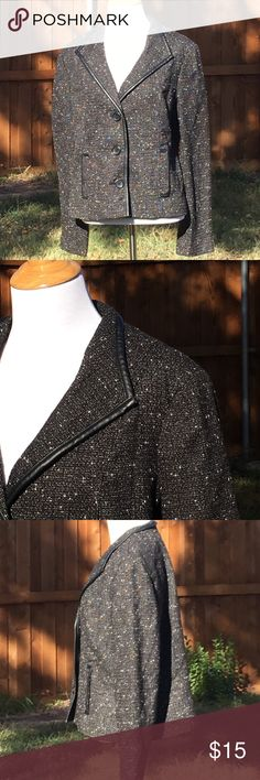 """212 Collection blazer jacket black size 14 Bust 21.5"""", sleeve 24.5"""", length 23"""" faux leather piping and pockets 212 Collection Jackets & Coats"""