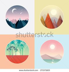 four seasons round landscape icons vector illustrations in low polygon style. Winter mountain peaks with snow, autumn forest triangular peaks, spring woods with poppies field and ocean in the summer.