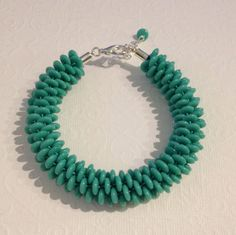 Turquoise Discs Beaded Kumihimo Bracelet by JewelleryByJanine, £17.00