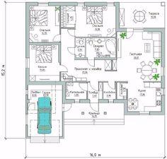 Проект одноэтажного дома. Дом имеет необходимый набор помещений, он хорошо зонирован — FunnyReps