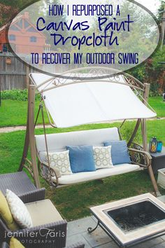 How I Recovered My Outdoor Swing with a Canvas Paint Drop-cloth