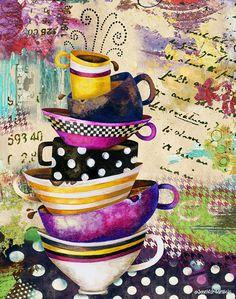 Art Print. Coffee Cups Divine. Dreamy Edition by Jennifer Lambein