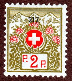 Switzerland Franchise Stamps Sc #51  2¢ control #217 Olive Green and Red 1911-21