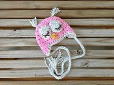 newborn photo prop sleep owl hat pink with light grey and mustard baby boy baby girl