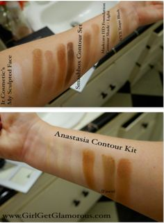 Best contouring products swatched... www.GirlGetGlamorous.com