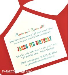 Die Cut Circus Tent Invite - Like the wording.