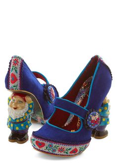 There's No Pace Like Gnome Heel by Irregular Choice - High, Woven, Blue, Solid, Buttons, Party, Holiday Party, Statement, Quirky, Best, Mary Jane, Novelty Print