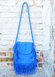 Cut n' Paste - Blue Fringe Boho Bag ($198)