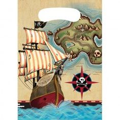 Pirate's Map Favor Bags (8 Pack)