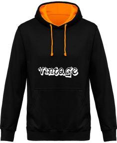 "Sweat Capuche Bicolore""Vintage"" Vintage, Sweatshirts, Sweaters, Fashion, Hoodie Sweatshirts, Bicolor Cat, Men, Moda, Fashion Styles"
