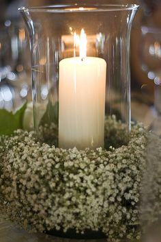 A great looking candle wedding centerpiece