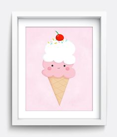 Ice Cream Cone  Printable Wall Art Instant by HelloHappyStudio