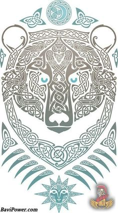 Bear in fine Celtic detail. Viking Art, Viking Symbols, Viking Runes, Norse Tattoo, Viking Tattoos, Thai Tattoo, Maori Tattoos, Tribal Tattoos, Celtic Patterns