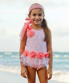 Look at this #zulilyfind! Pink & White Floral Skirted Tankini - Girls #zulilyfinds