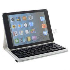 iPad Mini 360 Degree Rotate Bluetooth Keyboard Leather Case - White