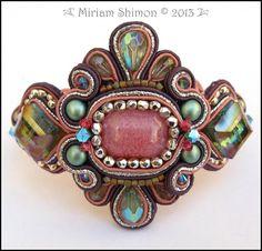 Pink Aqua Green Soutache Beaded Bracelet by MiriamShimon on Etsy