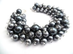 Slate Gray Pearl Bracelet Bridesmaid Jewelry Cluster by KIMMSMITH