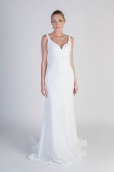 """""""Anya Amasova"""" beaded gown with tank-style bodice by Jean-Ralph Thurin Spring 2016 Collection. Photography: Courtesy of Jean-Ralph Thurin. Read More: http://www.insideweddings.com/news/fashion/jean-ralph-thurin-spring-2016-collection/1897/"""