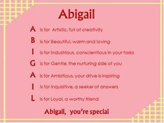 Acrostic Name Poems For Girls: Abigail