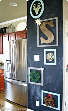 DIY chalkboard on one section of wall near the kitchen, love it.