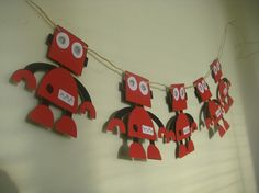 Sparkly Red Robot Banner for Birthday Party or Baby Shower CHOOSE YOUR COLORS on Etsy, $14.99