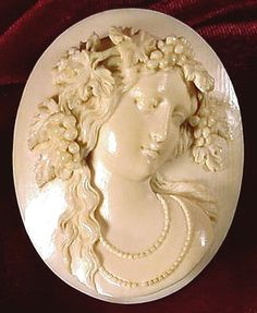 Victorian Ivory Cameo Brooch, 1840-1870