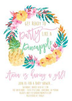 Pineapple Baby Shower Invitation Girl Luau by KirraReynaDesigns