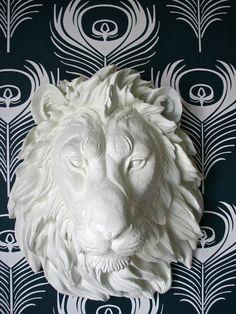 Lion Head Faux Taxidermy Wall Decor Leonard the by mahzerandvee, $120.00  (Want for my son's room.)