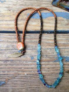 Handmade Tribal Inspired Wood Stone and Acrylic by JupiterOak