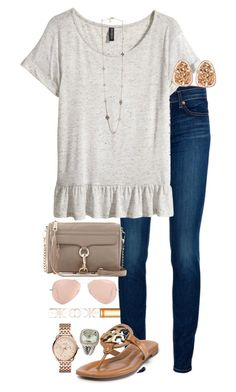"""""""Rebecca Minkoff and Tory Burch ❤️"""" by sydney1192 ❤ liked on Polyvore featuring J Brand, H&M, Kendra Scott, Rebecca Minkoff, Ray-Ban, Tory Burch, FOSSIL and David Yurman"""