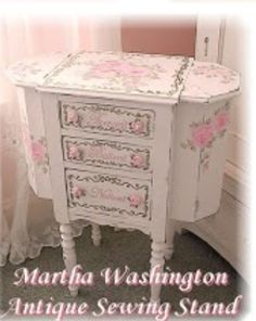 Martha Washington Antique Sewing Cabinet. Pink Furniture, Crate Furniture, Recycled Furniture, Metal Furniture, Vintage Furniture, Painted Furniture, Painted Dressers, Furniture Refinishing, Urban Furniture