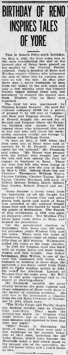 Reno Gazette-Journal, 8 May 1924, Thu, Main Edition  Robert Buncel mentioned in history of Reno