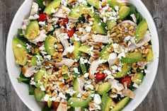 A Power Salad recipe- Spinach Salad with chicken, avocado and goat cheese with tomato, corn and toasted pine nuts- tossed in a tangy Dijon vinaigrette. Goat Cheese Recipes, Goat Cheese Salad, Spinach Salad With Chicken, Chicken Salad, Avocado Chicken, Cooked Chicken, Summer Salad Recipes, Summer Salads, Spring Salad