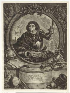 Arnoud van Halen   Portret van Gilles Schey, Arnoud van Halen, 1683 - 1732   Allegorisch portret van admiraal Gilles Schey. In zijn hand de aanvoerderstaf en op de achtergrond een zeeslag. Hij draagt een harnas en heeft om zijn hals een keten met een medaillon. De omlijsting is versiert met vlaggen, wapens en nautische elementen.