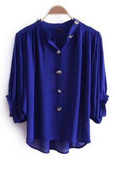 Blue High Neck Batwing Sleeve Buttons Embellished Blouse