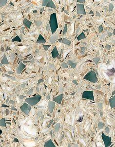 Countertops Countertop comprised of quartz, sea shells, exotic sea glass Kitchen Redo, New Kitchen, Kitchen Remodel, Kitchen Ideas, Cherry Kitchen, Eclectic Kitchen, Kitchen Makeovers, Kitchen Tips, Beach Cottage Style