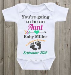 Pregnancy Announcement Onesie Aunt Onesie Pregnancy Reveal to Sister/Family Baby Announcement Baby gift