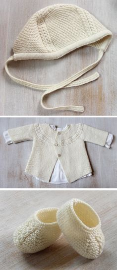Knitting patterns for Baby Layette Set inspired by Princess Charlotte. The bonnet, cardigan, and booties all feature the cable detail similar to the bonnet the princess wore in her first debut. 3 Sizes : Newborn / 3 months / 6 months. Patterns are also available separately. Etsy affiliate link tba