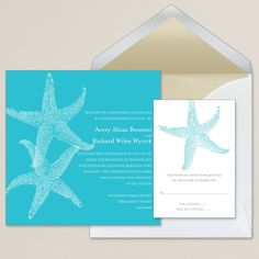 Imperial Starfish Wedding Invitation (available in other colors) | #exclusivelyweddings | #turquoisewedding