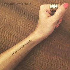 Amor Vincit Omnia Temporary Tattoo (Set of Amor Vincit Omnia Temporary Tattoo (Set of Related posts:Blue Industry Rollkragenpullover Off-WhiteBest Friend Tattoos - lilostyleBeste kleine Tattoo-Placement-Ideen für Frauen Arm Tattoos For Women Forearm, Forearm Tattoo Quotes, Lower Arm Tattoos, Small Quote Tattoos, Small Arm Tattoos, Word Tattoos On Arm, Arm Quote Tattoos, Bone Tattoos, Text Tattoo Arm