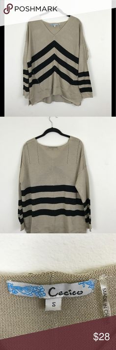 Cecico lightweight sweater Tan and black striped inside out oversized lightweight sweater.  EUC. B Cecico Tops