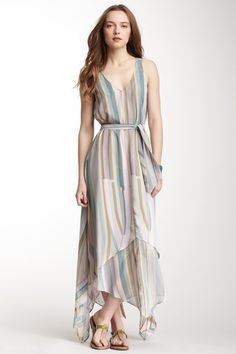 Calypso St. Barth Albina Printed Maxi Dress - soft stripes
