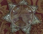 Antique Goofus Glass Star Paperweight/Magnifier $45.00