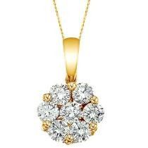 1.00 ct. Diamond Clusters Flower Pendant Necklace in 14k Yellow Gold