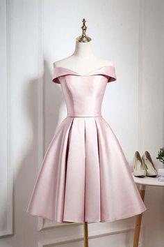 Sale Cute Prom Dresses Short, Cute Pink A Line Short Prom Dress, Pink Evening Dress Knee Length Bridesmaid Dresses, Hoco Dresses, Pretty Dresses, Sexy Dresses, Dress Prom, Elegant Dresses, Wedding Dresses, Dress Formal, Summer Dresses