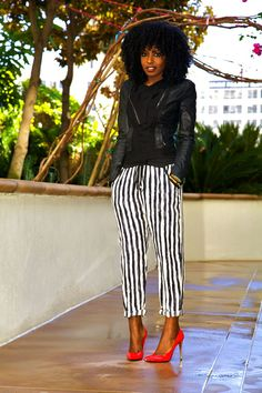 Style Pantry | Structured Moto Jacket + Stripe Peg Pants