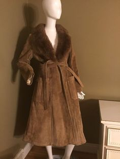 Saks Fifth Avenie, Real Suede Leather 70's Boho Coat With Fur Lining, Hippie  | eBay