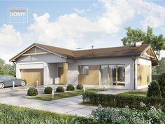 Projekt Ponza | Słoneczne Domy Courtyard House, House Plans, Garage Doors, Floor Plans, Cottage, Flooring, How To Plan, Architecture, Outdoor Decor