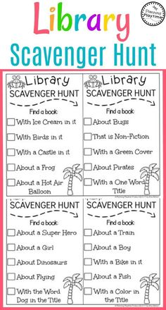 Library Scavenger Hunt and other Summer Reading Activities